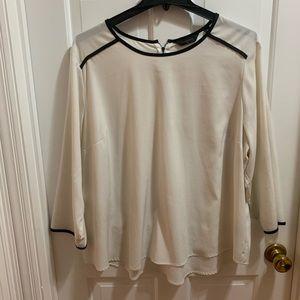Ivory w/black trim blouse. Investments. 3x
